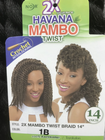 JANET COLLECTION NOIR  2X HAVANA MAMBO TWIST BRAID CROCHET INTERLOCKING 14""